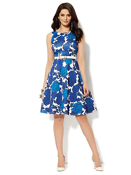 Scuba Flare Dress - Floral   - New York & Company