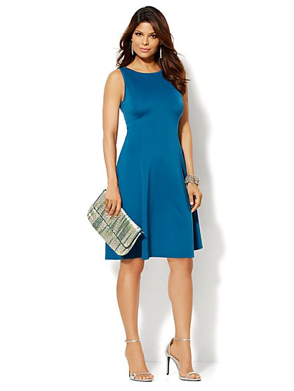 Scuba Flare Dress - Solid  - New York & Company