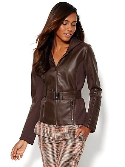 Scuba-Inset Hooded Faux-Leather Jacket  - New York & Company
