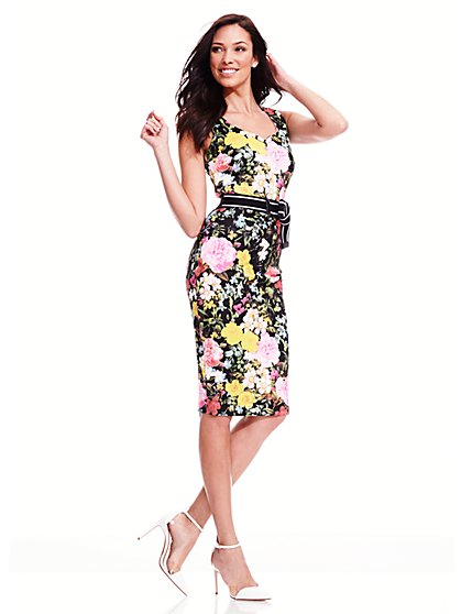 Scuba Midi Dress - Floral - Petite  - New York & Company