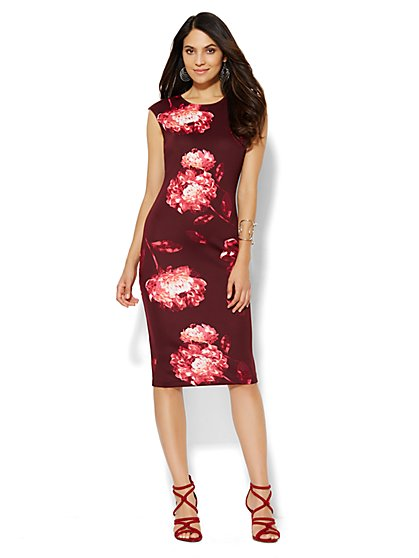 Scuba Midi Sheath Dress - Floral - New York & Company