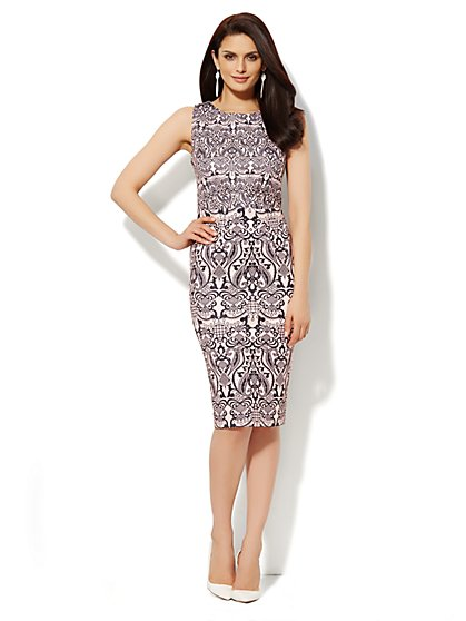 Scuba Midi Sheath Dress - Graphic Print  - New York & Company