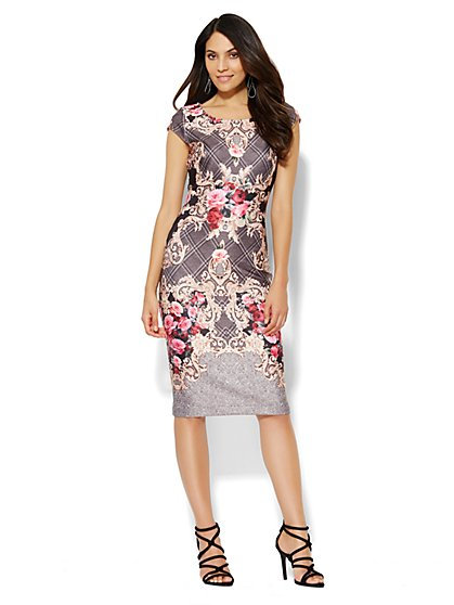 Scuba Midi Sheath Dress - Scroll/Plaid Print  - New York & Company