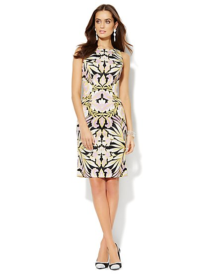 Scuba Midi Sheath Dress - Tropical Print - Petite - New York & Company