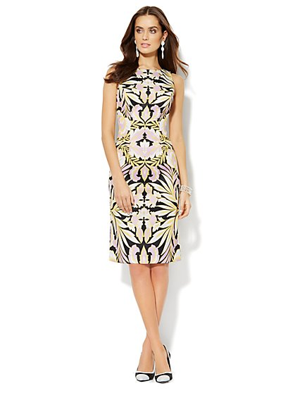 Scuba Midi Sheath Dress - Tropical Print - New York & Company