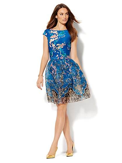 Scuba Midi Sheath Dress with Organza Skirt - Floral - New York & Company