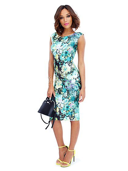 Scuba Midi Sheath - Floral Print - New York & Company