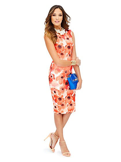 Scuba Midi Sheath - Poppy Print - New York & Company