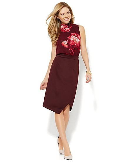 Scuba Mixed-Fabric Midi Dress - Floral - Petite - New York & Company