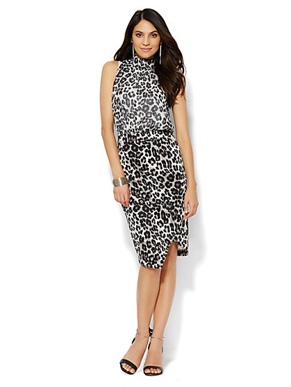 Scuba Mixed-Fabric Midi Dress - Leopard - New York & Company