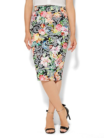 Scuba Pencil Skirt - Floral Jacquard - New York & Company