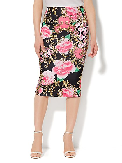 Scuba Pencil Skirt - Floral Medallion - Petite - New York & Company