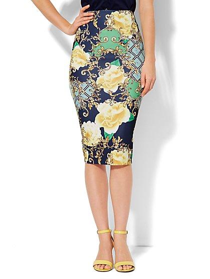 Scuba Pencil Skirt - Floral Medallion - Petite - New York & Company