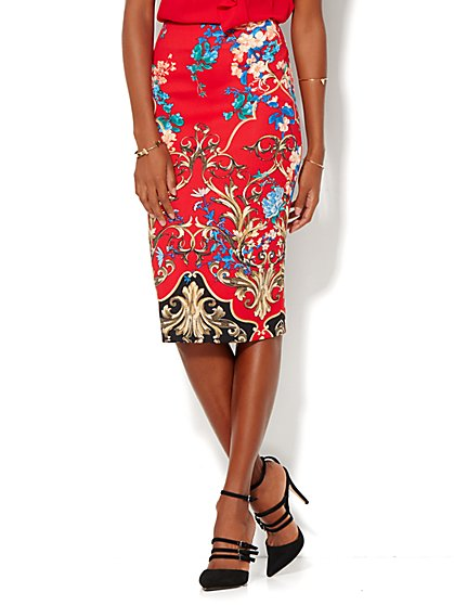 Scuba Pencil Skirt - Floral  - New York & Company