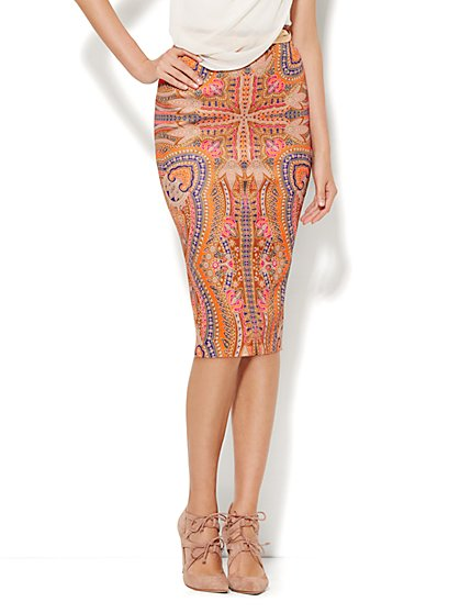 Scuba Pencil Skirt - Medallion Print  - New York & Company
