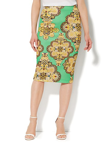 Scuba Pencil Skirt -  Medallion   - New York & Company