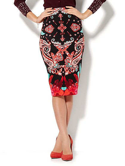 Scuba Pencil Skirt - Print  - New York & Company