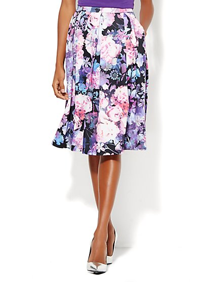Scuba Pleated Full Skirt - Floral  - New York & Company
