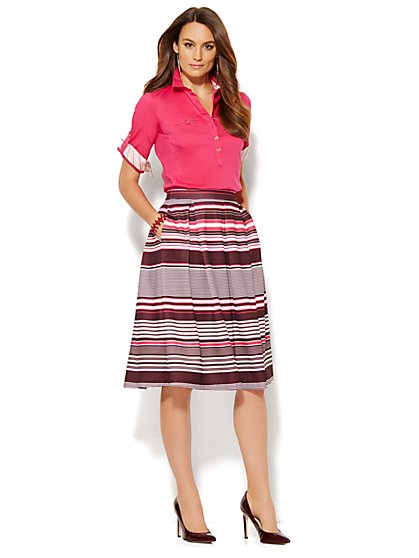 Scuba Pleated Full Skirt - Stripe  - New York & Company