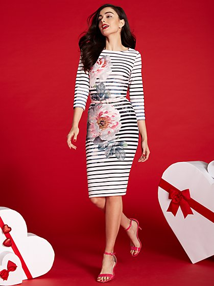 Scuba Sheath Dress - Floral/Stripe  - New York & Company