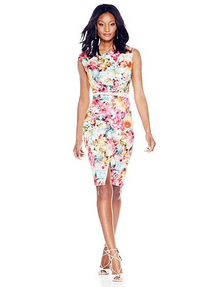 Scuba Sheath Dress - Floral  - New York & Company