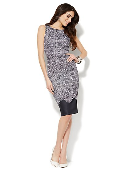Scuba Sheath Dress - Graphic Print  - New York & Company