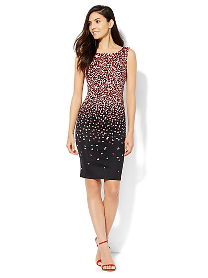 Scuba Sheath Dress - Heart Print  - New York & Company