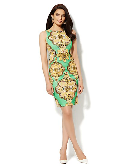 Scuba Sheath Dress - Medallion Print  - New York & Company
