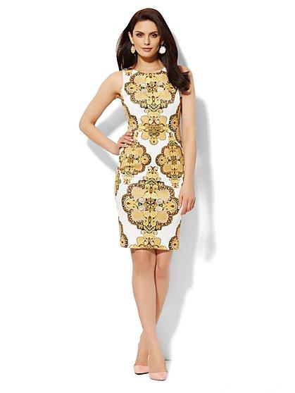 Scuba Sheath Dress - Medallion Print  - New York & Company