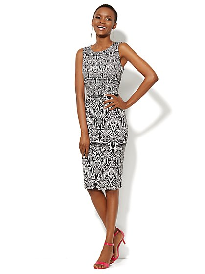 Scuba Sheath Dress - Scroll Print  - New York & Company