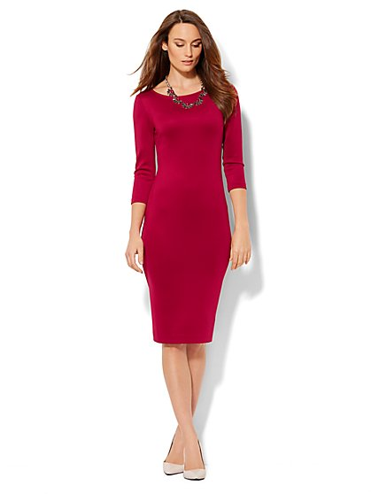 Scuba Sheath Dress - Solid - New York & Company