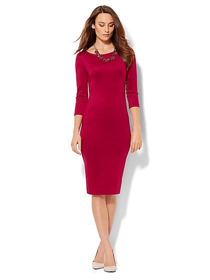 Scuba Sheath Dress - Solid - New York & Company