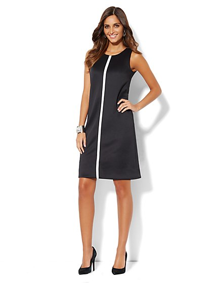 Scuba Shift Dress - Black   - New York & Company