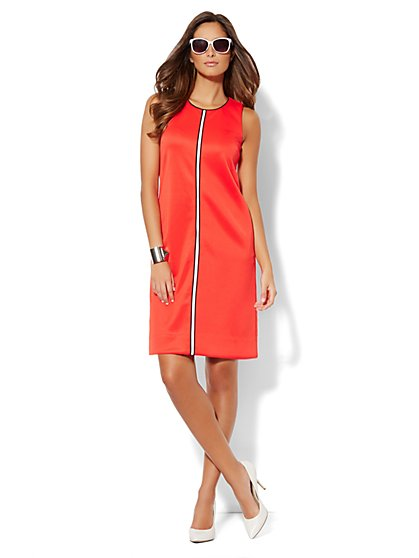 Scuba Shift Dress - Red Harbor - New York & Company