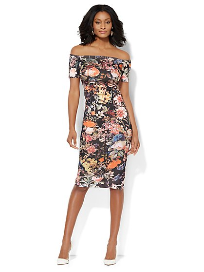 Scuba Top & Pencil Skirt Set - Floral  - New York & Company
