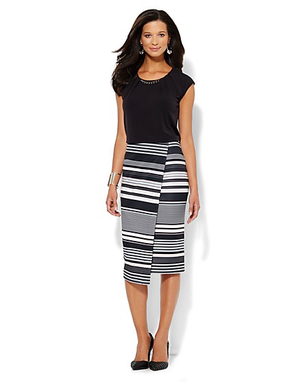Scuba Wrap Skirt - Stripe  - New York & Company