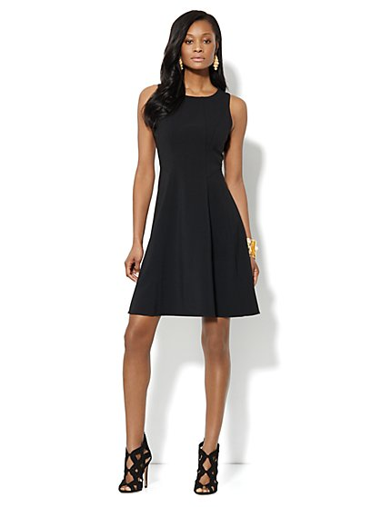 Seamed Crepe Fit & Flare Dress