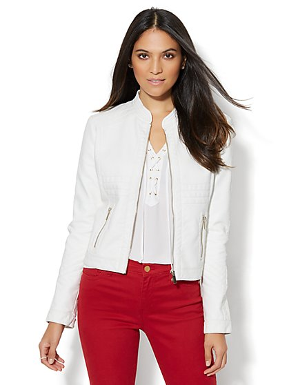 Seamed Faux-Leather Moto Jacket - White  - New York & Company