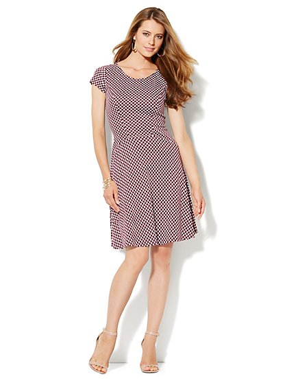 Seamed Flare Dress - Print