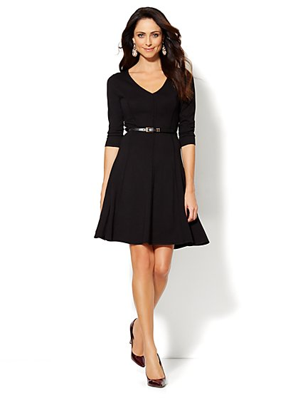 Seamed Flare Sweater Dress - New York & Company