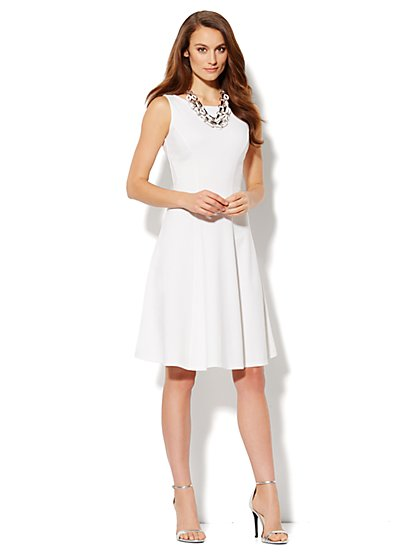 Seamed Skater Dress - Paper White
