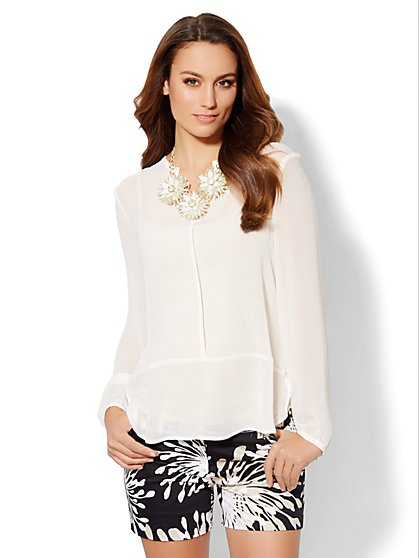 Seamed Split-Neck Blouse  - New York & Company