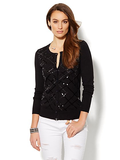 Sequin Argyle Cardigan  - New York & Company