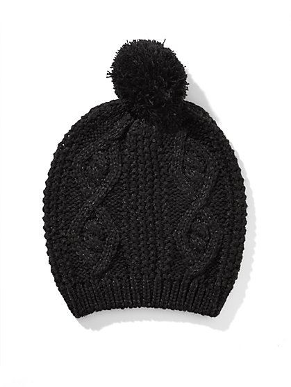 Sequin Cable Pom-Pom Hat  - New York & Company