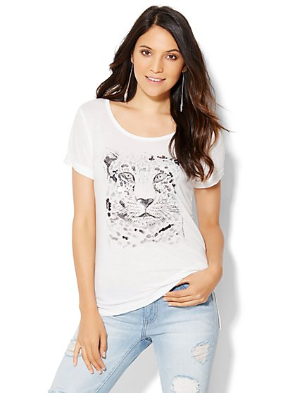 Sequin Cheetah Tee - New York & Company