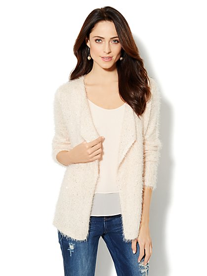 Sequin Eyelash Cardigan  - New York & Company