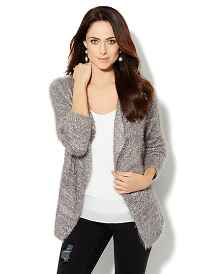 Sequin Eyelash Flyaway Cardigan  - New York & Company