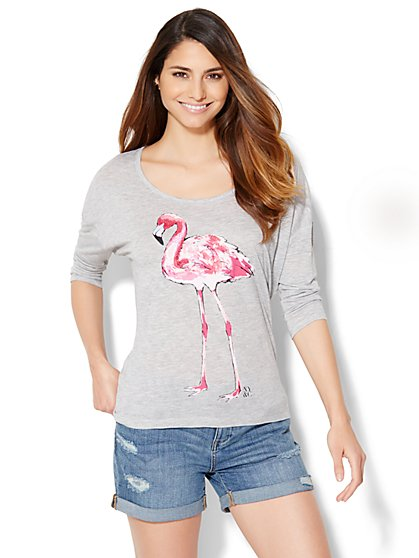 Sequin Flamingo Tee  - New York & Company