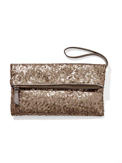 Sequin Foldover Wristlet  - New York & Company