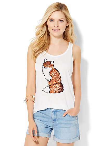 Sequin Fox Tank Top  - New York & Company